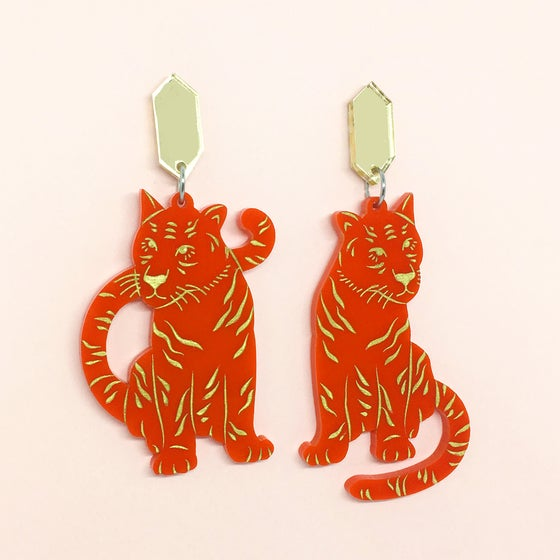 Image of Twin Tiger Dangles (70s Red/Gold)