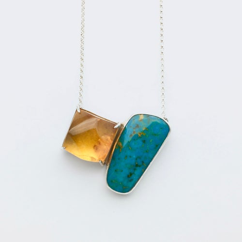 Image of Amber and Kingman Turquoise Necklace