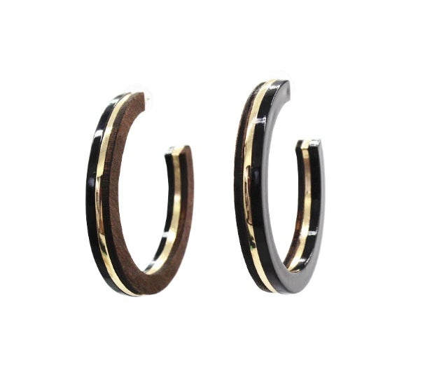 Image of Wood and Gold Statement Hoops