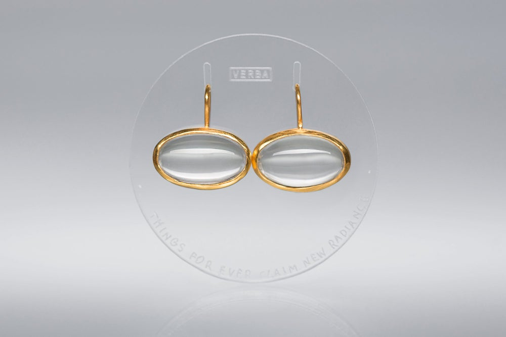 "Image of ""Things for ever claim.."" gold plated silver earrings with rock crystals · EX ALIO ATQUE ALIO ·"