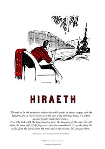 Image of fforest cymraeg prints: 'hiraeth' with wording