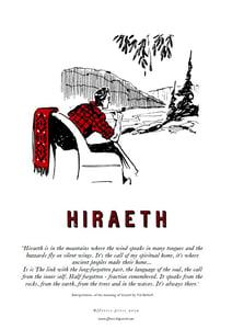 Image of fforest cymraeg prints: 'hiraeth' with wording