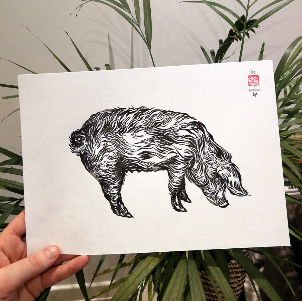 Image of Limited Edition Pig Lino Print