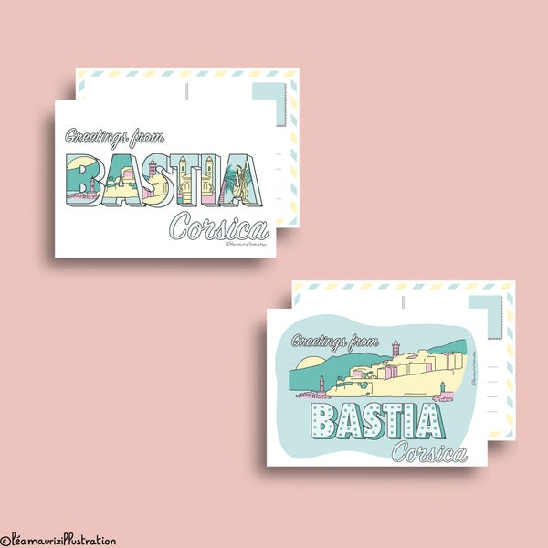 Image of Duo de cartes postales BASTIA