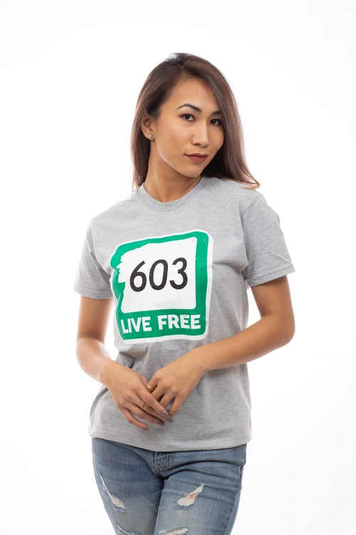 Image of 603 Live Free T-Shirt- Heather Grey