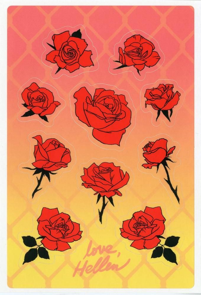 "Image of ""LOVE, HELLEN"" ROSE STICKER SHEET"