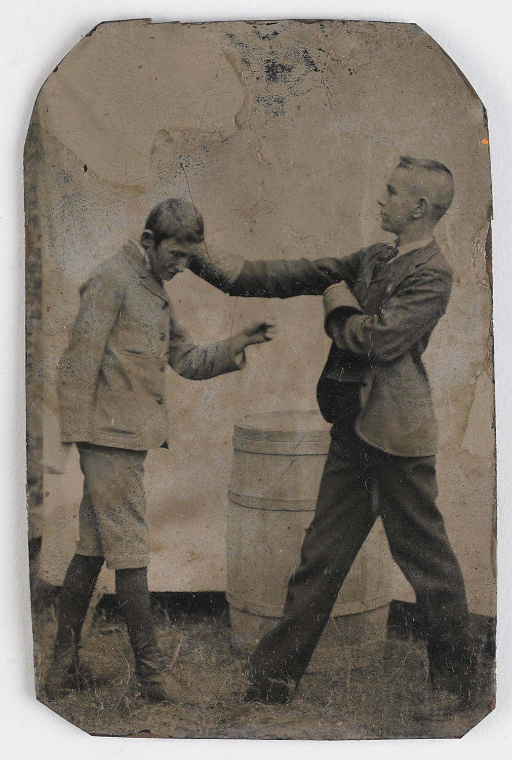 Image of Tintype: two boys boxing with flowerpots, ca. 1890