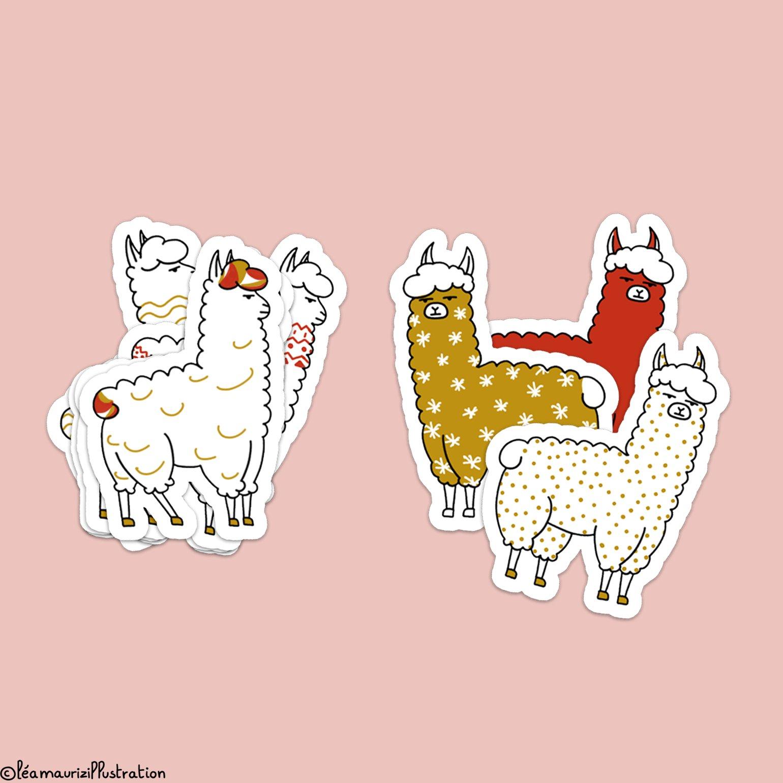 Image of Christmas Llamas stickers