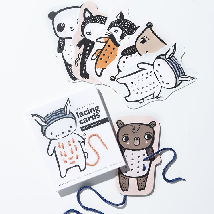 Image of Wee Gallery Baby Animals Lacing Cards