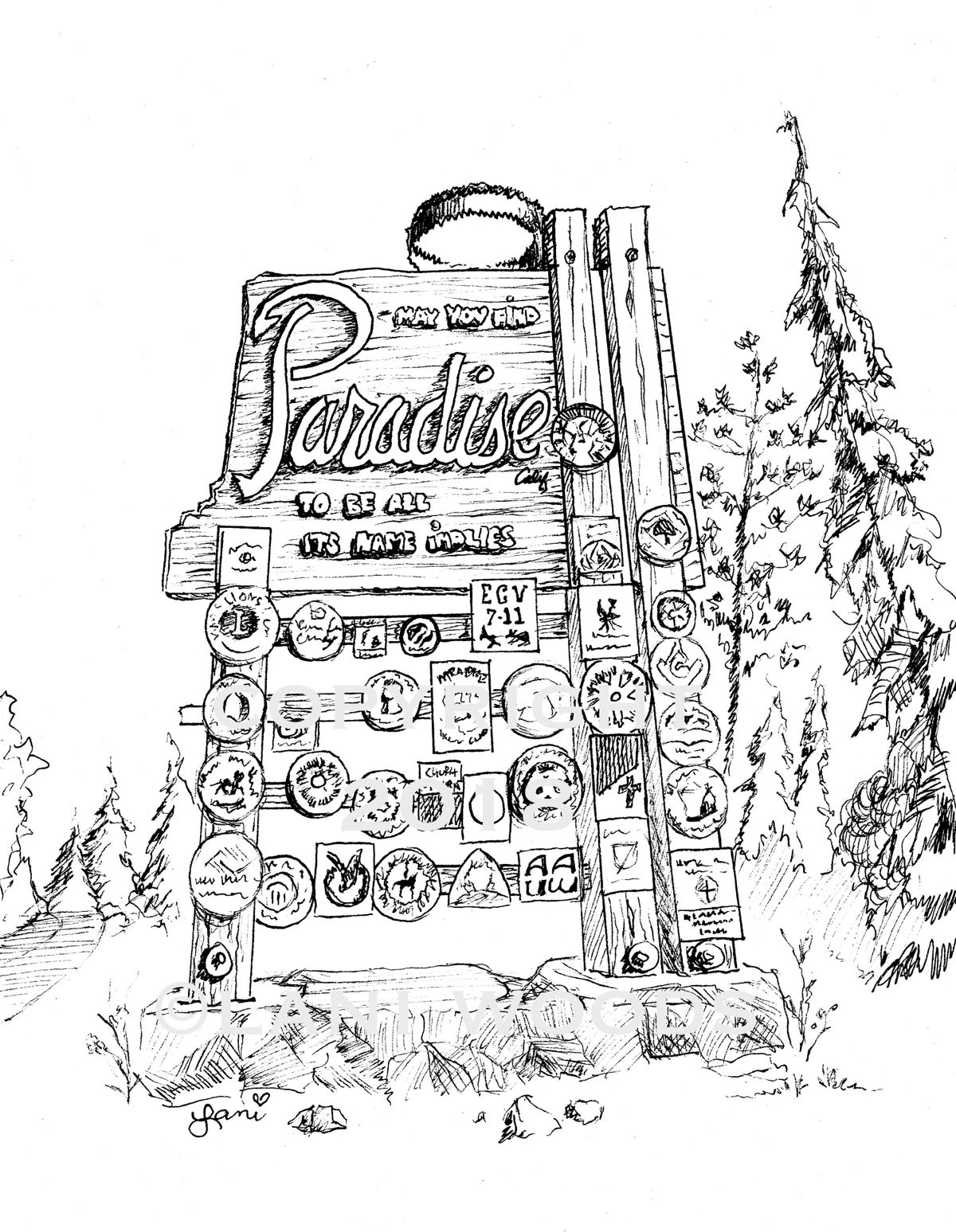 Image of BLACK & WHITE 8x10 Paradise Sign Illustration Archival Print