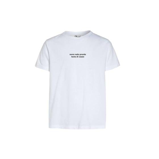 Image of T-shirt SONO NATO PRONTO TESTA DI CAZZO bianca