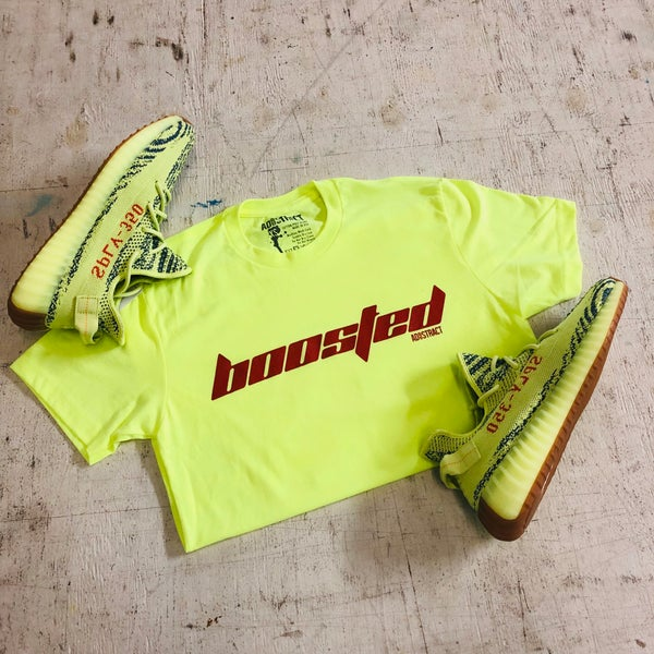 "Image of BOOSTED ""CALABASAS"" NEON YELLOW T-SHIRT"