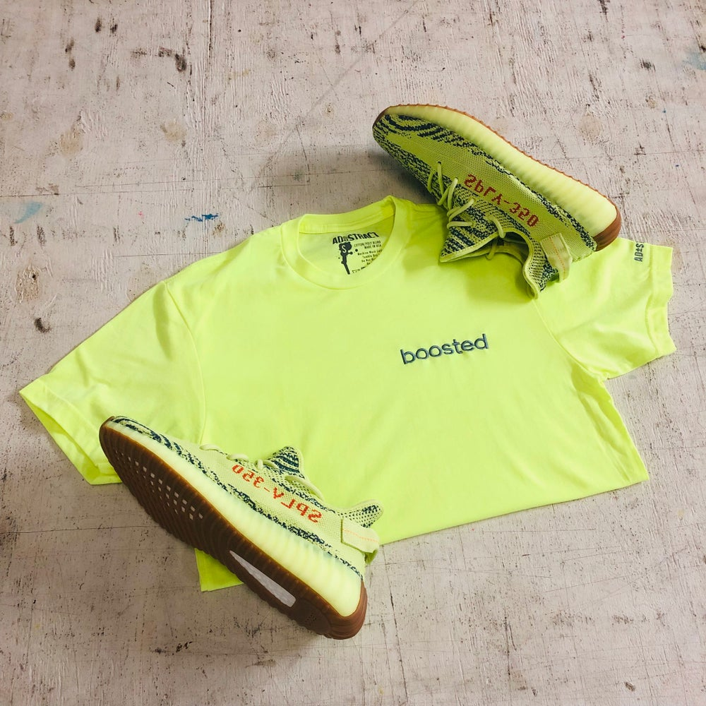 BOOSTED EMBROIDERY (NEON YELLOW) T-SHIRT