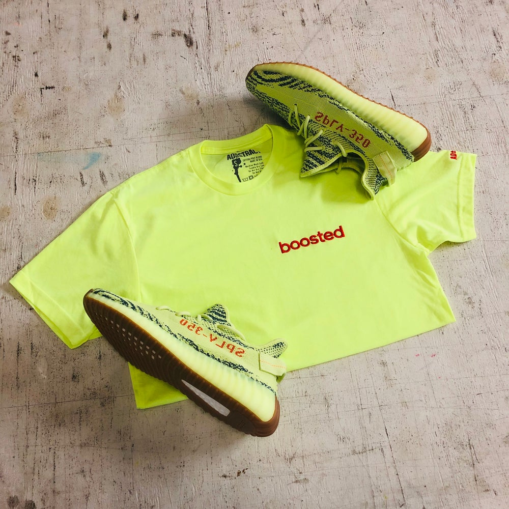 Image of BOOSTED EMBROIDERY (NEON YELLOW T-SHIRT