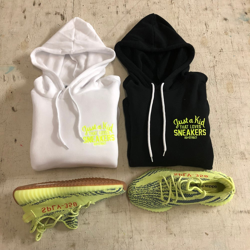 """JUST A KID THAT LOVES SNEAKERS EMBROIDERY """"NEON YELLOW"""" HOODY"""