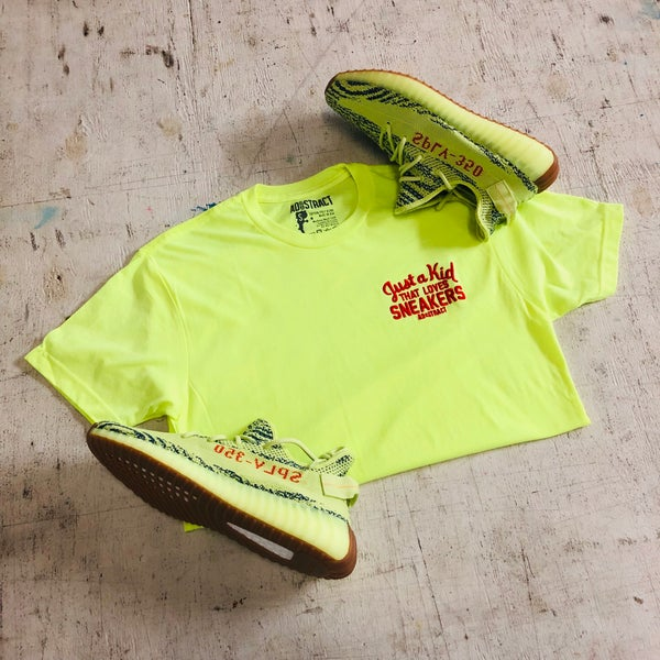 Image of JUST A KID THAT LOVES SNEAKER EMBROIDERY (NEON YELLOW/BLUE TINT) T-SHIRT