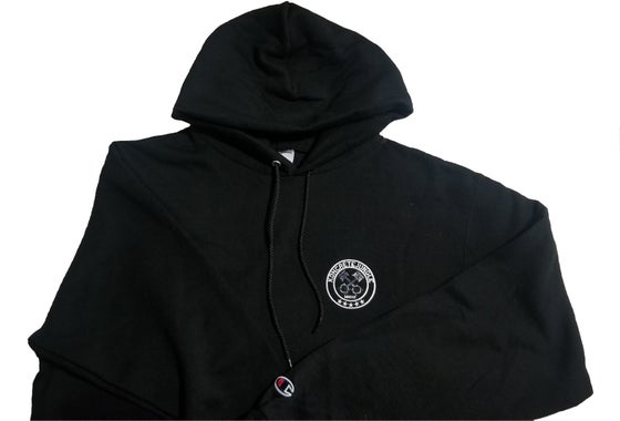 "Image of ""OH GEE"" FRONT POCKET BLACK EMBROIDERED HOODIE"