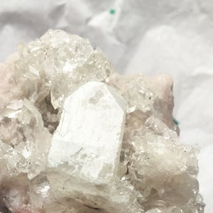 Image of Apophylite and Quartz Cluster - Icy Mountain - clear to cloudy icy tones