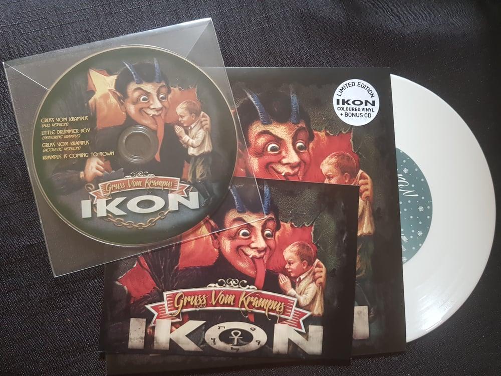 "Image of Gruss Vom Krampus colored vinyl 7"",cd and signed postcard"
