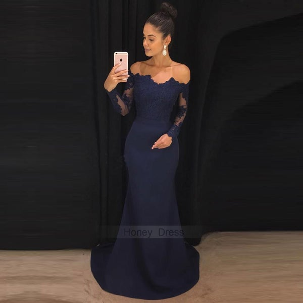 Image of Navy Blue Off-the-Shoulder Long Sleeve Formal Evening Gown Mermaid Prom Dress With Sweep Train