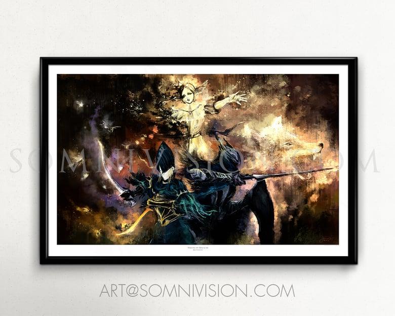 Image of DS Poster, Knight Artorias, Ciaran, Sif, Oolacile Art Print, Fantasy, Painting, Giclée