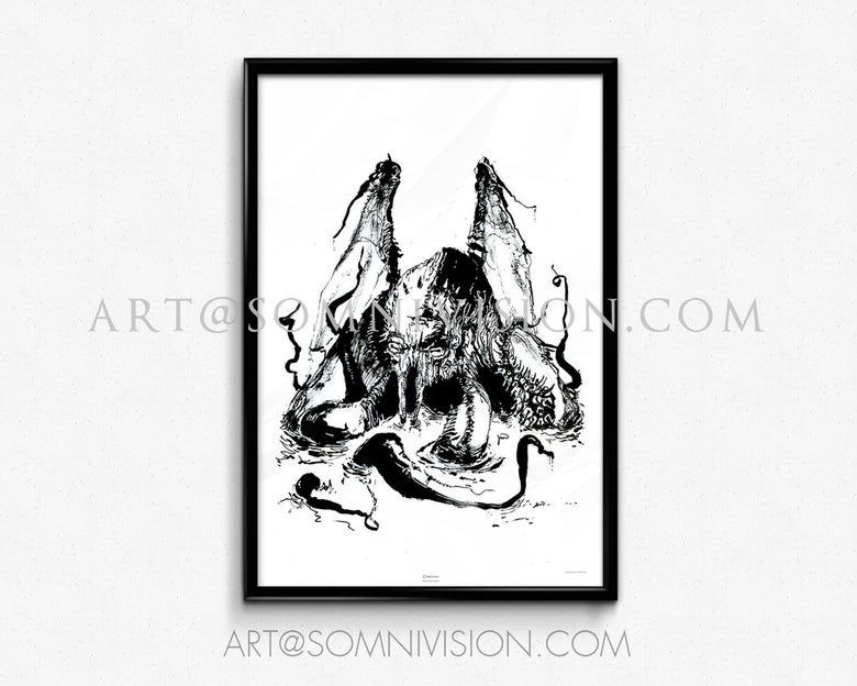 Image of Cthulhu Art Print Giclée Poster, ink, artwork, octopus, monster