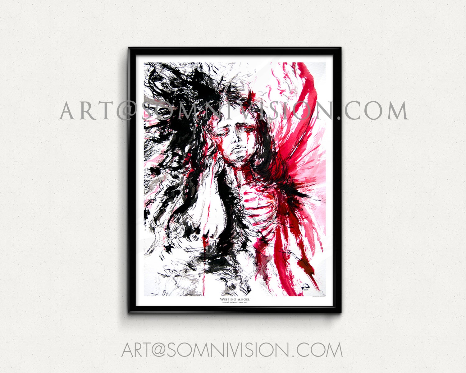 Image of Gothic Angel Giclée Art Print Poster, Ink, Artwork, Weeping, Wings