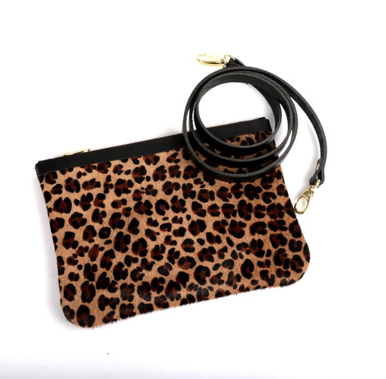 Image of LEOPARD leather clutch/crossbody bag