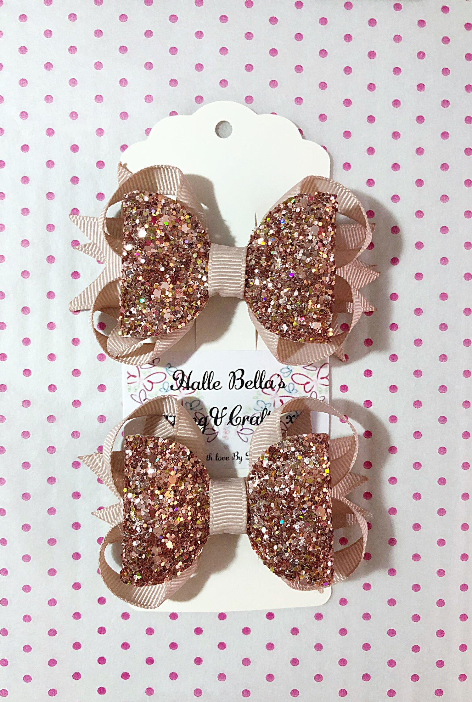 Image of Rosegold pony tail set. 3inch glitter bows