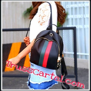 Image of BLACK STRIPED BACKPACK/PURSE