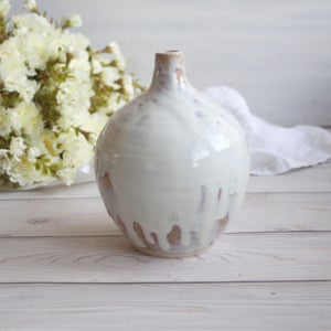 Image of Round Ceramic Vase in White and Ocher Glaze Handmade Pottery Made in USA