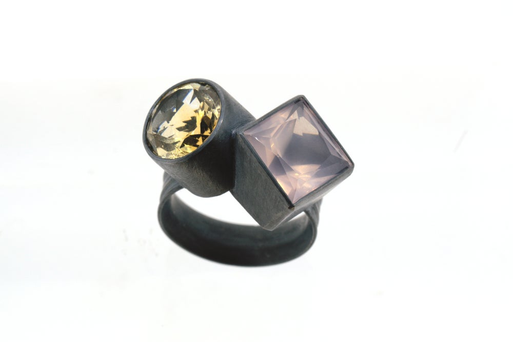 Image of Rose quartz and citrine ring in oxidized silver