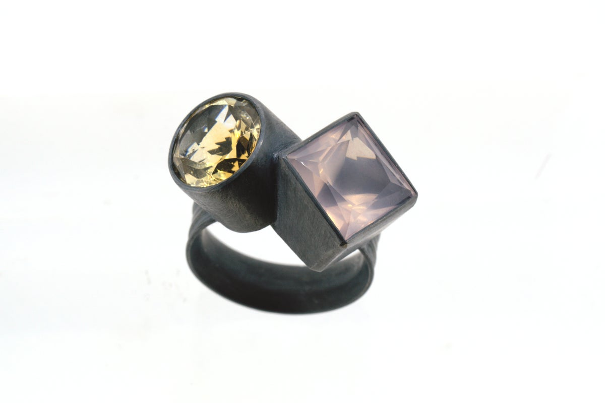 Rose quartz and citrine ring in oxidized silver