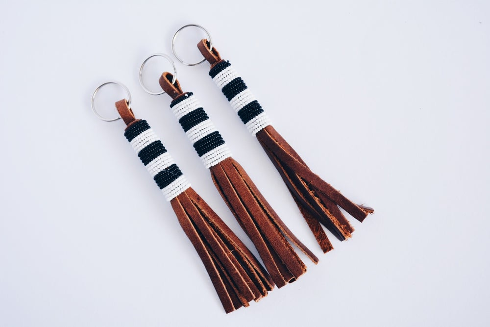 Image of Beaded Leather Tassels
