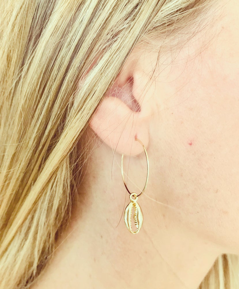 Image of Shell hoop earrings - silver & gold
