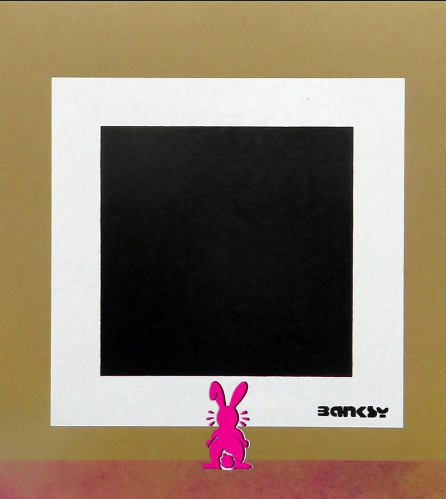 "Image of 🎈Not Not Bansky ""PINK BUNNY WITH BLACK SQUARE""🎈"