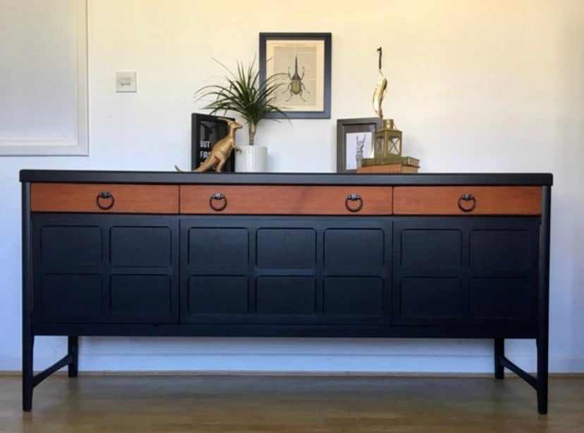 Image of A black and teak Nathan sideboard