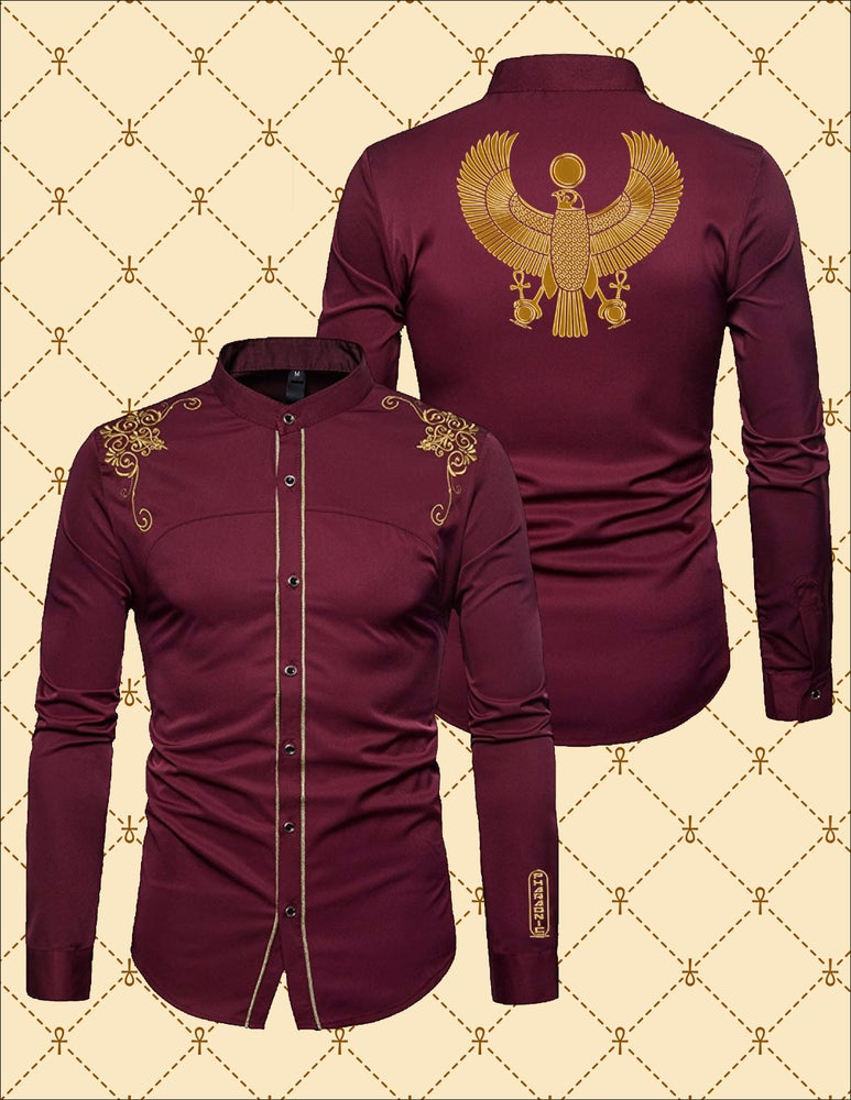 Image of MEN'S GOLD HRU WITH EMBROIDERY DRESS SHIRT