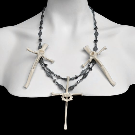 Image of Trio of Bone Crosses Necklace