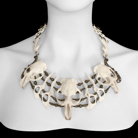 "Image of ""Xa Mai"" Muskrat, Raccoon & Rabbit Bone Necklace"
