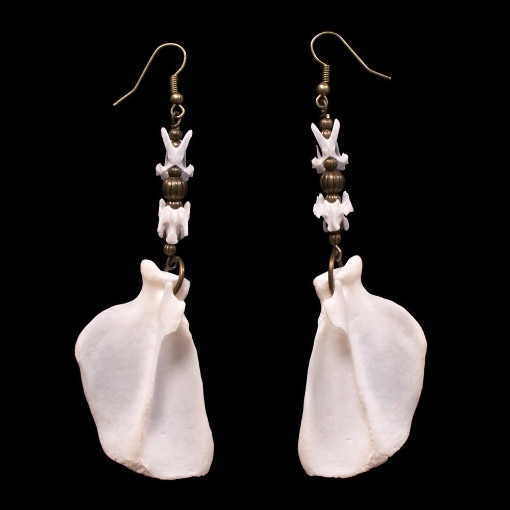 """Image of """"Khuren"""" Skunk & Pigeon Bone Earrings"""