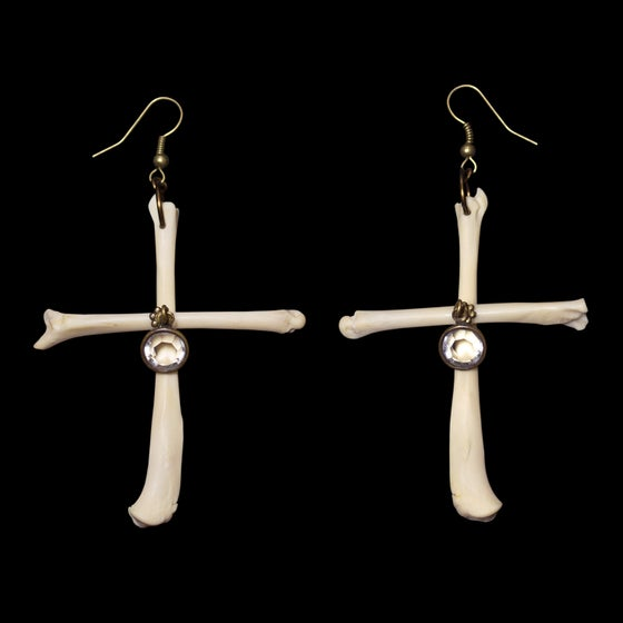 Image of Cross Leg Bone Earrings