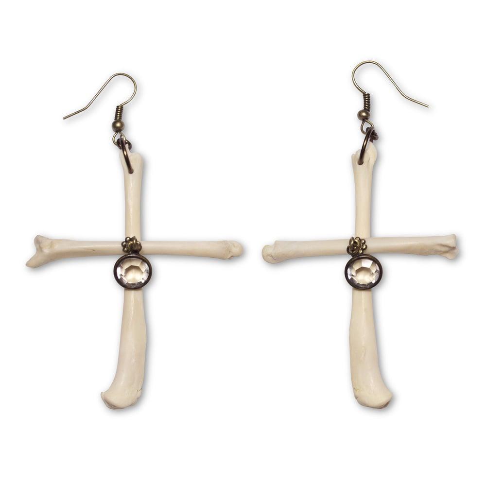 Image of Cross Leg Bone Earrings