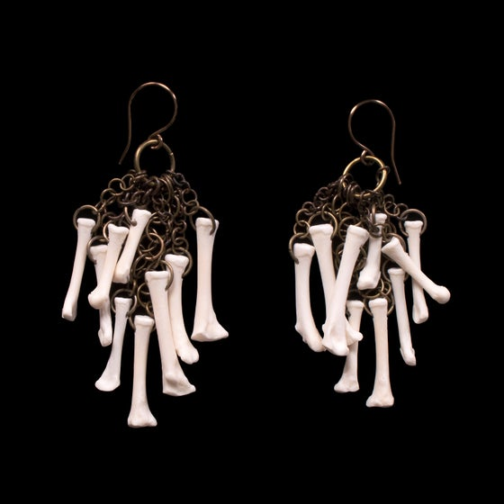 "Image of ""Kherem"" Squirrel Foot Bone Earrings"
