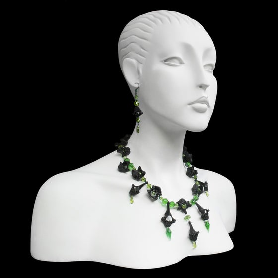 Image of Twin Necklace & Earrings - Green