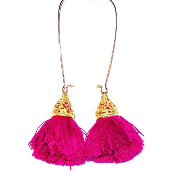 Image of Ltd Ed - Gold Waikiki Tassel Earrings - Very Violet