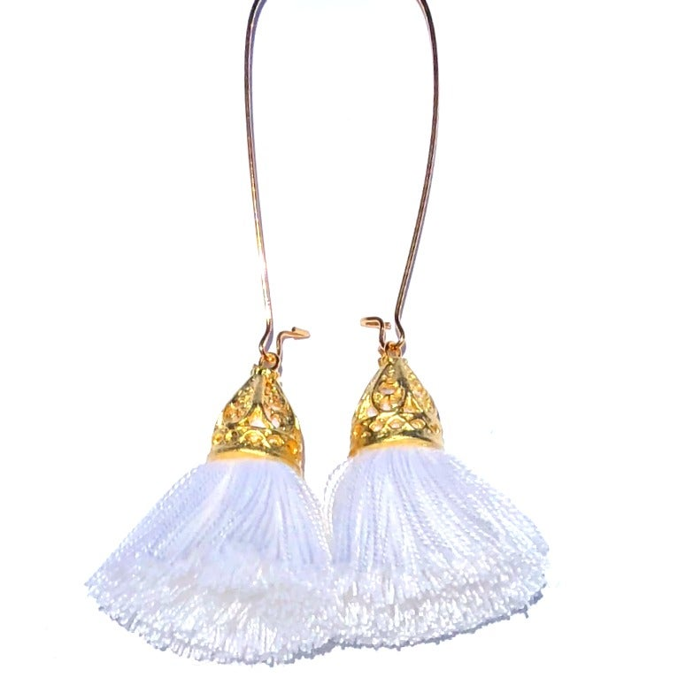 Image of Ltd Ed - Gold Waikiki Tassel Earrings - White