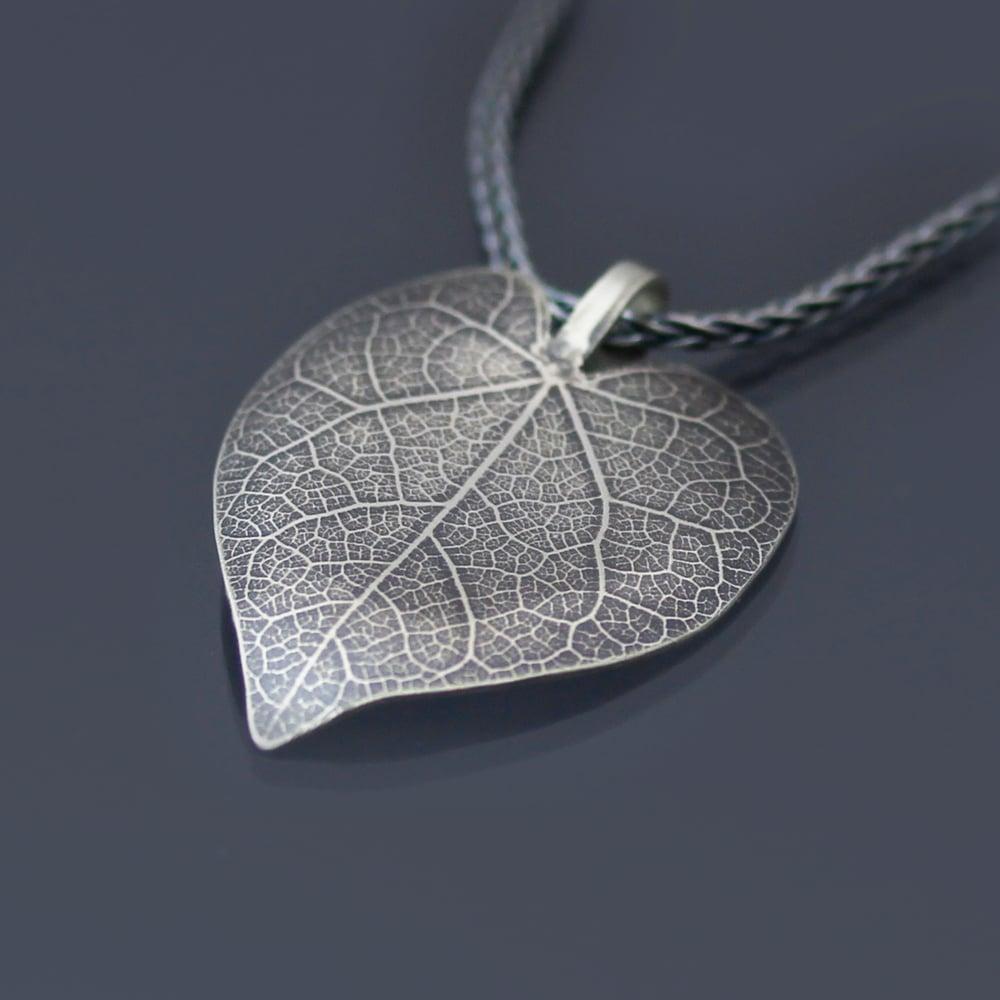 Image of Sterling Silver Redbud Leaf Necklace