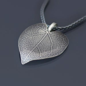 Image of Sterling Silver Redbud Leaf Necklace