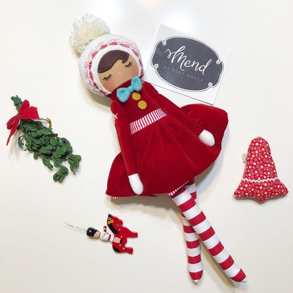 Image of Red Velvet Classic Holiday Doll